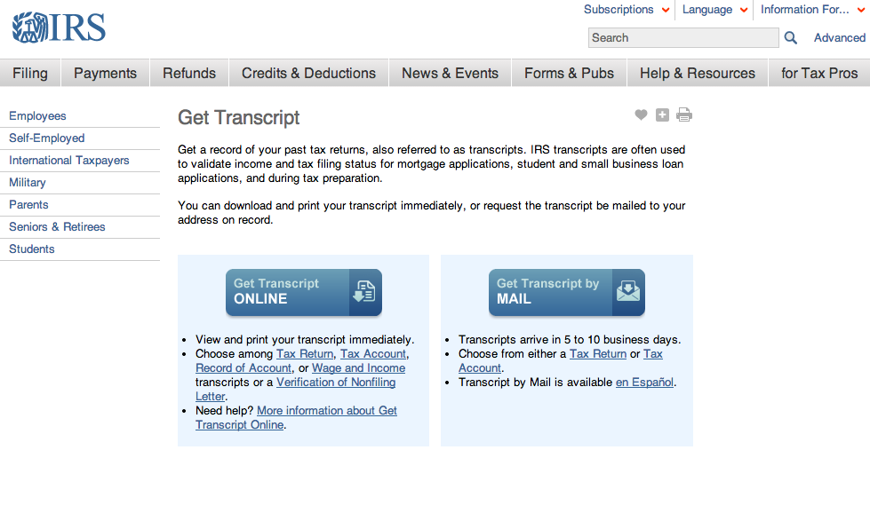 You Can Now Download Your Tax Return Transcripts From The Irs The