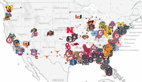 How local recruiting dictates scheme: Mapping college ...