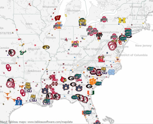 How Local Recruiting Dictates Scheme Mapping College Footballs - Map of southern tier of us
