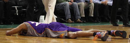 Here lies the corpse of Vince Carter... (Photo by Elsa/Getty Images)