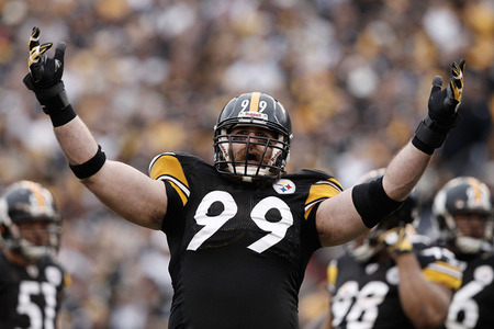 PITTSBURGH, PA - DECEMBER 04: Brett Keisel #99 of the Pittsburgh Steelers signals to the crowd during the game against the Cincinnati Bengals on December 4, 2011 at Heinz Field in Pittsburgh, Pennsylvania.  (Photo by Jared Wickerham/Getty Images)