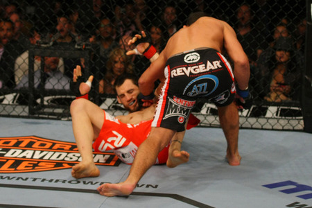 Johny Hendricks (right) brutally knocks out Jon Fitch (left) at UFC 141 on Fri., Dec. 30, 2011, at the MGM Grand Garden Arena in Las Vegas, Nevada. Photo by Donald Miralle/Zuffa LLC/Zuffa LLC via Getty Images.