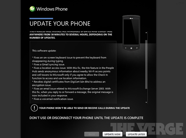 Windows Phone 8107 update