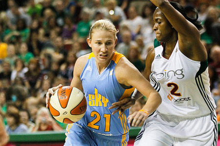 Adding Swin Cash (right) to the roster via trade this off-season will certainly help the Chicago Sky in their attempt to make the playoffs for the first time, but Courtney Vandersloot's continued development as a pro point guard will also be critical. Photo by Kailas Images.