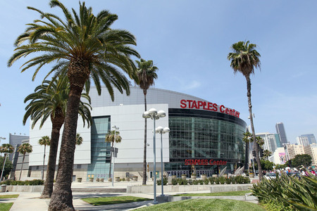 LOS ANGELES, CA - JUNE 03:  A general exterior view of the Staples Center is seen prior to Game One of the 2010 NBA Finals between the Boston Celtics and the Los Angeles Lakers at Staples Center on June 3, 2010 in Los Angeles, California.  NOTE TO USER: User expressly acknowledges and agrees that, by downloading and/or using this Photograph, user is consenting to the terms and conditions of the Getty Images License Agreement  (Photo by Christian Petersen/Getty Images)