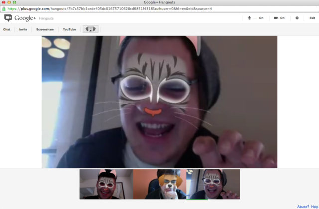 Google+ Hangout masks Paul Miller