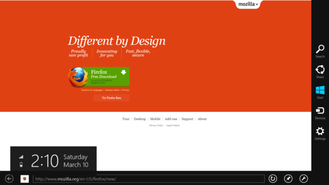 Firefox Internet browser metro windows 8