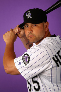 SCOTTSDALE, AZ - FEBRUARY 28:  Ramon Hernandez #55 of the Colorado Rockies poses for a portrait during spring training photo day at Salt River Fields at Talking Stick on February 28, 2012 in Scottsdale, Arizona.  (Photo by Christian Petersen/Getty Images)
