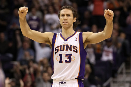 PHOENIX - DECEMBER 03:  Steve Nash #13 of the Phoenix Suns reacts after scoring against the Indiana Pacers during the NBA game at US Airways Center on December 3 2010 in Phoenix Arizona.  The Suns defeated the Pacers 105-97.  NOTE TO USER: User expressly acknowledges and agrees that by downloading and or using this photograph User is consenting to the terms and conditions of the Getty Images License Agreement.  (Photo by Christian Petersen/Getty Images)