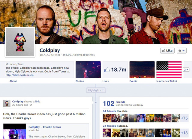facebook timeline for brands coldplay