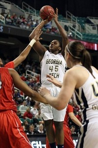 Sasha Goodlett's ability to hit mid-range jumpers might set her apart from other center prospects in the 2012 WNBA Draft, but the improvement over her career at Georgia Tech might be even more impressive.  Jeremy Brevard-US PRESSWIRE