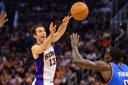 Steve Nash passed Oscar Robertson for fifth on the all-time assists list in the first half.