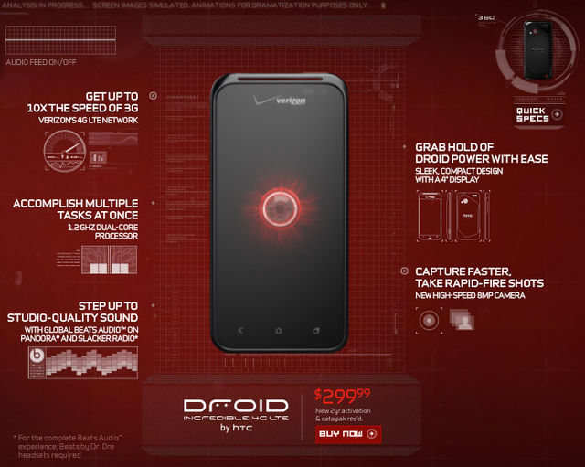 Droid Incredible 4G LTE teaser page