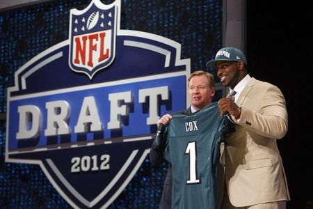 Apr 26, 2012; New York, NY, USA; NFL commissioner Roger Goodell introduces Fletcher Cox (Mississippi State) as the number twelve overall pick to the Philadelphia Eagles in the 2012 NFL Draft at Radio City Music Hall. Mandatory Credit: Jerry Lai-US PRESSWIRE