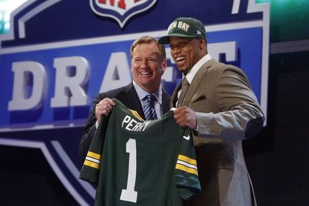 Apr 26, 2012; New York, NY, USA; NFL commissioner Roger Goodell introduces Nick Perry (Southern California) as the number twenty-eight overall pick to the Green Bay Packers in the 2012 NFL Draft at Radio City Music Hall. Mandatory Credit: Jerry Lai-US PRESSWIRE