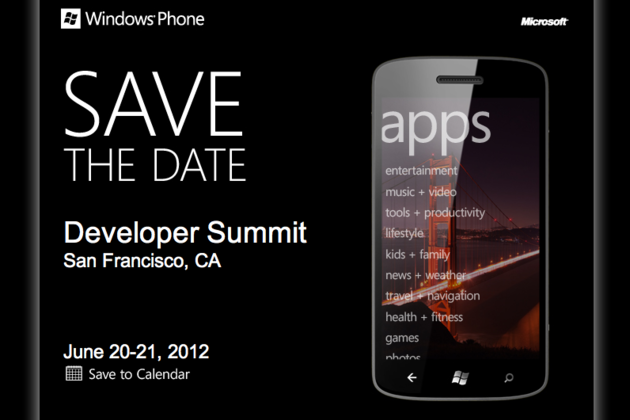 Windows Phone Developer Summit invite stock
