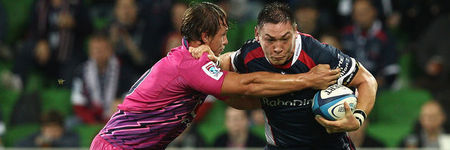 MELBOURNE, AUSTRALIA - MAY 04:  Gareth Delve of the Rebels is tackled during the round 11 Super Rugby match between the Rebels and the Bulls at AAMI Park on May 4, 2012 in Melbourne, Australia.  (Photo by Quinn Rooney/Getty Images)