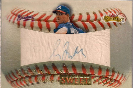 My 2000 Fleer Showcase Greg Maddux Sweet Signature baseball card. The ball material gets more wrinkled with each year. The signature is fading away slowly and steadily. It all make me so-very sad.