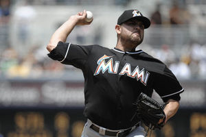 SAN DIEGO, CA - MAY 6:  Ricky Nolasco #47 of the Miami Marlins delivers during the first inning of a baseball game against the San Diego Padres at Petco Park on May 6, 2012 in San Diego, California.  (Photo by Denis Poroy/Getty Images)
