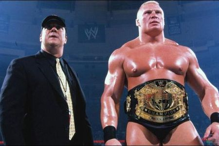 Paul Heyman (left) came out on WWE RAW and told the world former UFC champion Brock Lesnar was quitting WWE.