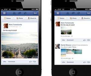 Facebook Mobile news feed photo update press before and after