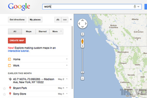 Google Maps Desktop my places work