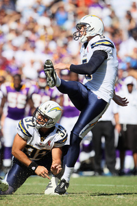 The Chargers best special teamer, Mike Scifres, showing off his awesomeness last year filling in on place kicking duties (Photo by Jeff Gross/Getty Images)
