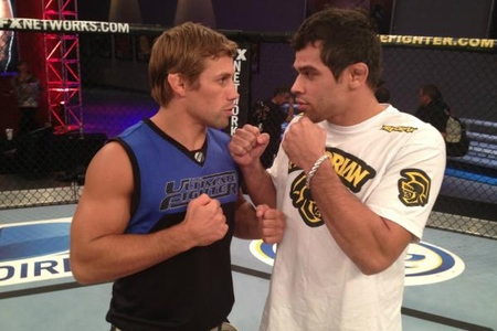 Urijah Faber (left) squares off with Renan Barao at the Ultimate Fighter gym in Las Vegas. Photo via UFC. 