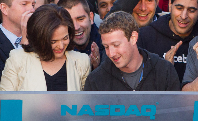 Zuckerberg and Sandberg at NASDAQ Facebook IPO