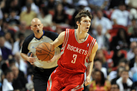 April 23, 2012; Miami, FL, USA; Houston Rockets point guard Goran Dragic (3) dribbles during the first half against the Miami Heat at American Airlines Arena. Mandatory Credit: Steve Mitchell-US PRESSWIRE