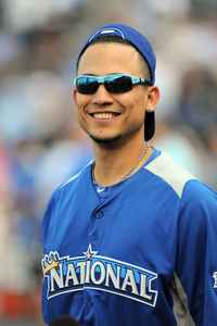 July 9, 2012; Kansas City, MO, USA; National League designated hitter Carlos Gonzalez (5) of the Colorado Rockies during the 2012 Home Run Derby at Kauffman Stadium.  Mandatory Credit: Denny Medley/USA TODAY Sports via US PRESSWIRE