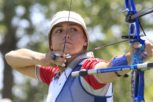 Of Turkey's 114 Olympic athletes, 66 are women, including archer Begul Lokluoglu. (Photo by George Frey/Getty Images)