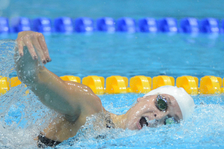 Aug 1, 2012; London, United Kingdom; Lauren Perdue (USA) swims in the women's 4x200 relay heat during the London 2012 Olympic Games at Aquatics Centre. Mandatory Credit: Kirby Lee-USA TODAY Sports