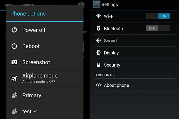 Android Jelly Bean multiple user screenshot