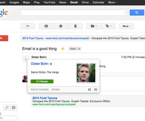 Gmail Google+ Profile Cards