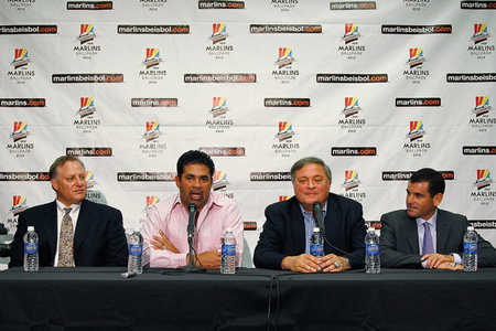 (L to R) Miami Marlins President of Baseball Operations Larry Beinfest , Ozzie Guillen, Miami Marlins owner Jeffrey Loria  and Miami Marlins President David P. Samson. Were these men to blame for the failures of 2012? Not entirely.  (Photo by Mike Ehrmann/Getty Images)