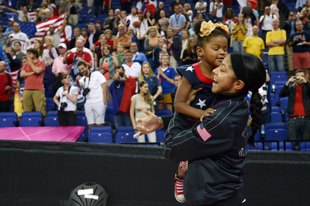 Eurobasket's tournament MVP Candace Parker celebrates with daughter Lailaa after winning the gold. (Credit: Richard Mackson-USA TODAY Sports)