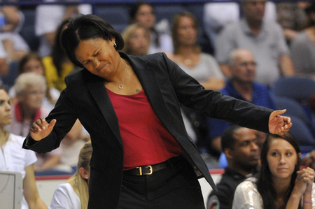 July 13, 2012; Chicago, IL, USA; Chicago Sky head coach Pokey Chatman reacts to a play against the Connecticut Sun during the second half at the Allstate Arena. The Connecticut Sun beat the Chicago Sky in overtime 80-78.  Photo by Rob Grabowski-US PRESSWIRE.