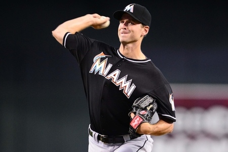 Aug. 22, 2012; Phoenix, AZ, USA: Miami Marlins pitcher Jacob Turner pitches in the first inning against the Arizona Diamondbacks at Chase Field. Mandatory Credit: Mark J. Rebilas-US PRESSWIRE