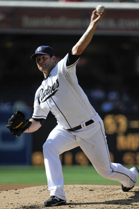 SAN DIEGO, CA - AUGUST 29:  Eric Stults #53 of the San Diego Padres pitches during the third inning of a baseball game against the Atlanta Braves at Petco Park on August 29, 2012 in San Diego, California.   (Photo by Denis Poroy/Getty Images)