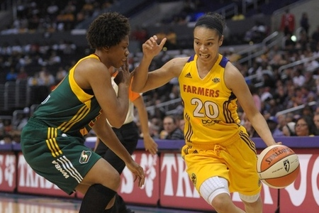 Los Angeles Sparks guard Kristi Toliver has shown an increased willingness to drive to the basket this season, but where does she stand among the league's most improved players? Photo by Kirby Lee/Image of Sport-US PRESSWIRE.