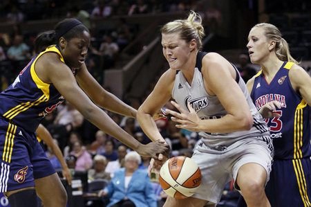 Sep 7, 2012; San Antonio, TX, USA; San Antonio Silver Stars center Jayne Appel (32) struggles to keep the ball under pressure from Indiana Fever center Jessica Davenport (left) and guard Katie Douglas (right) during the second half at the AT&T Center. The Fever won 82-78. Mandatory Credit: Soobum Im-US PRESSWIRE