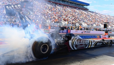Sept. 14, 2012; Concord, NC, USA: NHRA top fuel dragster driver Shawn Langdon during qualifying for the O?Reilly Auto Parts Nationals at zMax Dragway. Mandatory Credit: Mark J. Rebilas-US PRESSWIRE