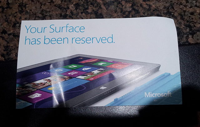 Surface RT pass