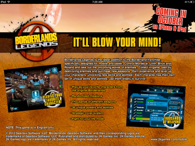 borderlands legends ios (gearbox)