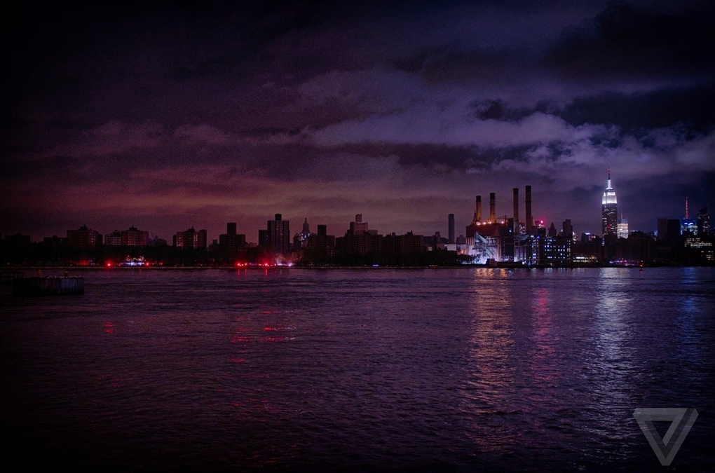 Above: Lower Manhattan was plunged into darkness after a Con Ed transformer exploded during the storm. (Photo by Nilay Patel)