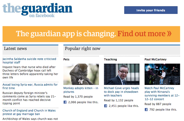 The Guardian Facebook Changing
