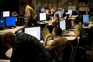 Military people using computers