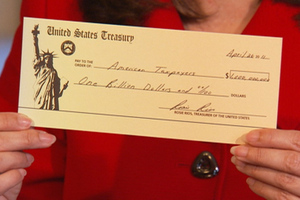 US Treasury Department check for $1 million, a ceremonial gesture indicating the money taxpayers will save by switching to direct deposit