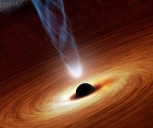 NASA artist's concept of a supermassive black hole emitting high-energy x-rays.